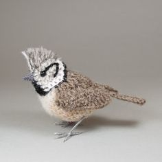 Items similar to Crested tit British bird fibre art sculpture on Etsy Crochet Bird Patterns, Crochet Birds, Crochet Animals, Shetland Wool, Baby Sparrow, Short Eared Owl, Splash Photography, Molde, Sculpture