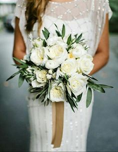 Beautiful Bridal Bouquet Arranged With: White Roses, White English Garden Roses, White Ranunculus & Greenery/Foliage Bridal Bouquet Fall, White Wedding Bouquets, Wedding Flower Inspiration, White Wedding Flowers, Flower Bouquet Wedding, Bridesmaid Bouquet, Floral Wedding, Bridal Bouquets, Olive Wedding
