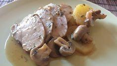 Arista in tegame con funghi, patate e erbe aromatiche.