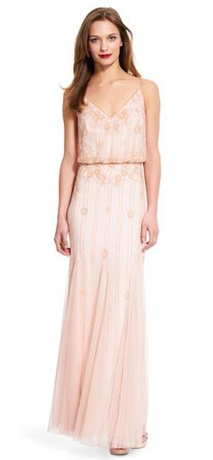 Adrianna Papell Blouson V-Neck Beaded Gown | A pale pink beaded blouson gown is finished with a v-neck and think straps, perfect for bridesmaids.