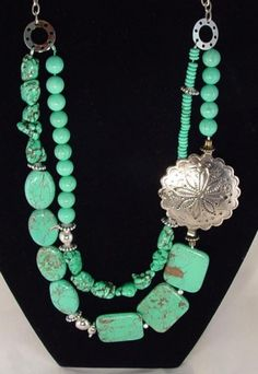 TURQUOISE & SILVER SOUTHWESTERN NECKLACE, $85 RitasGems on ArtFire