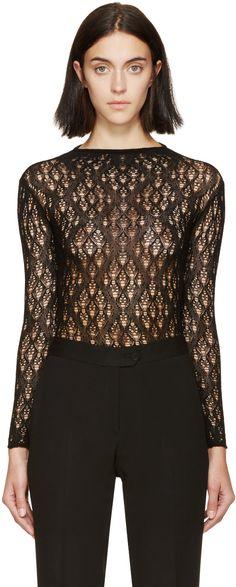 MAISON MARGIELA Black Open-Knit Body Suit. #maisonmargiela #cloth #suit