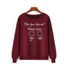 SheIn(sheinside) Red Round Neck Letters Print Sweatshirt ($14) ❤ liked on Polyvore featuring tops, hoodies, sweatshirts, jumpers, shirts, red, cotton pullovers, red cotton shirt, long sleeve pullover shirts and extra long sleeve shirts