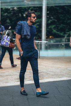 夏服メンズファッションコーディネート人気TOP12【2016年夏】 | 男前研究所 ジョガースウェットパンツ,Tシャツ.タッセルローファー