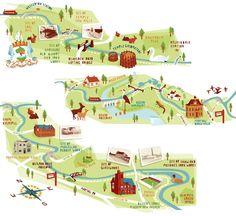 Glasgow canal map illustrations Kerryhyndman.co.uk