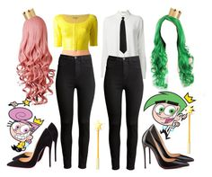 """Best Friends Costumes. #529"" by alejandramalagon ❤ liked on Polyvore featuring moda, Ødd., T By Alexander Wang, H&M, Christian Louboutin, Forever 21, P.A.R.O.S.H., fairlyoddparents y costumes"