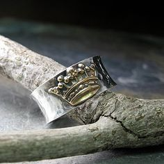 Sterling Silver and Brass Crown Ring - Queen of Everything