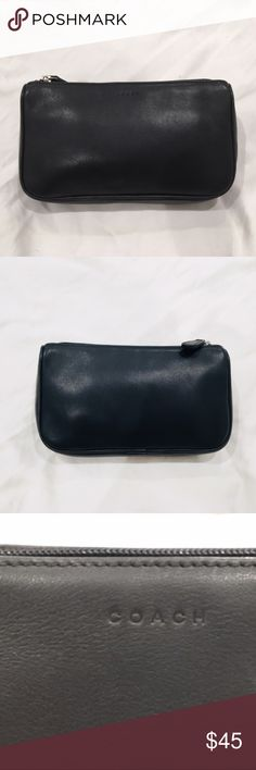 """NWOT Vintage COACH Black Leather Cosmetic Bag Vintage COACH Black Leather Cosmetic Bag. Luxurious, soft and durable leather. Purchased at Coach Store in LA in the early 2000's. Approximate Dimensions: 7 1/2"""" L x 4 1/2"""" W x 1 1/2"""" D.  Brand new, never used, no tags, no dust bag. Sorry, no trades. Coach Bags Cosmetic Bags & Cases"""