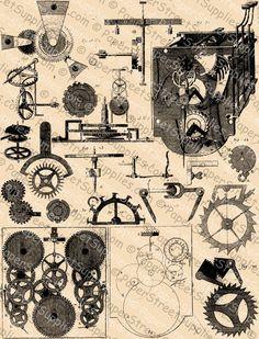 Clockwork - Steampunk (No. Steampunk Mechanic, Wooden Gear Clock, Mechanical Engineering Design, The Maxx, Gear Art, Steampunk House, Technical Drawing, Old Art, Halloween Cosplay
