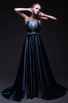 44e7186598 Spaghetti Straps V-neck Floor Length Evening Dress with ... Cute Wedding  Dress
