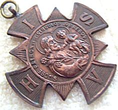 $59 Antique St. Joseph San Jose Maltese Cross Medal Pendant, From Argentina with Spanish writing- this very rare piece is in very good vintage condition