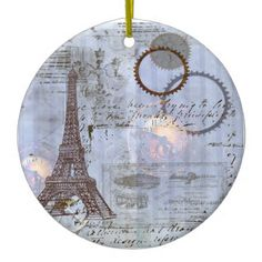 Steampunk Eiffel Tower Christmas Ornament - click/tap to personalize and buy
