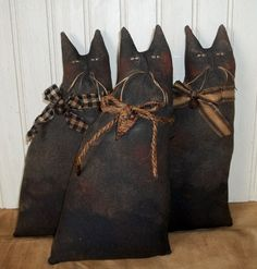 Primitive Grungy Set of 3 Black Kitty Cat Dolls #NaivePrimitive