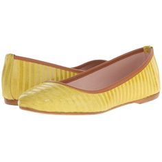 Summit White Mountain Kaisley (Yellow Suede) Women's Flat Shoes ($119) ❤ liked on Polyvore featuring shoes, flats, leather flat shoes, striped flat shoes, flat heel shoes, round toe flats and flat pumps