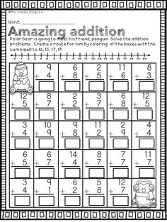 Winter Math and Literacy No Prep Printables First Grade Winter math and literacy pack for first grade. Worksheets and activities with fun to practice different skills such as addition & subtraction, number sense, place value, money etc… First Grade Activities, Teaching First Grade, Kindergarten Math Worksheets, First Grade Math, Math Activities, Subtraction Activities, Math For Grade 1, Grade 1 Worksheets, Fraction Activities