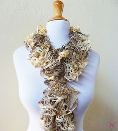 Knit Scarf WHEATFIELDS  Ruffled Lace scarf  by OriginalDesignsByAR, $24.95