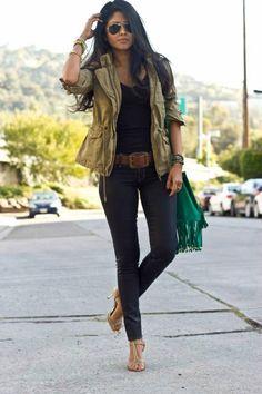 Skinny jeans, military jacket
