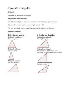 CLASIFICACIN DE TRIANGULOS  TRIANGULOS  Pinterest  Math