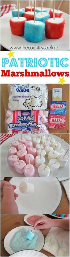 Patriotic Jell-O Marshmallows recipe from The Country Cook. Celebrate the 4th of July with these kid-friendly marshmallows. They are gluten-free and it's a fun treat kids of all ages can make!
