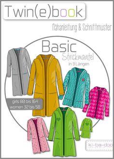 Twin(e)book Basic Strickmantel - Schnittmuster und Anleitung als PDF Datei in A4