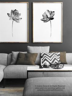 Lotus Set 2 Print, Asian Flowers Abstract Painting, Black and White Watercolor Living Room Decor, Water Flower Poster, Lotus Grey Drawing by ColorWatercolor on Etsy