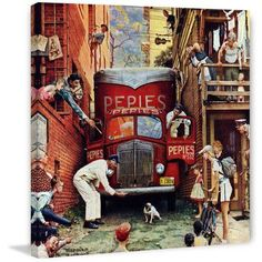 Marmont Hill Road Block by Norman Rockwell Painting Print on Canvas, Size: 24 inch x 24 inch, Multicolor