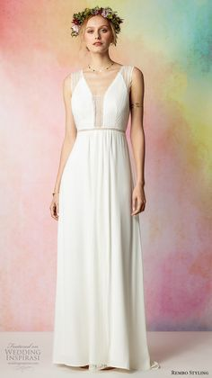 rembo styling 2017 bridal sleeveless lace strap v neck simple bohemian grecian modified a  line wedding dress keyhole back sweep train (faubourg) mv