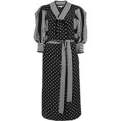 Stella McCartney Valeria Dress ($2,315) ❤ liked on Polyvore featuring dresses, black white stripe dress, three quarter sleeve dress, black and white striped dress, stripe dresses and black and white stripe dress
