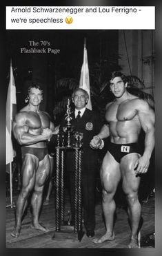 Arnold Schwarzenegger and Lou Ferrigno compete at an early bodybuilding competition. Fitness Motivation, Fitness Gym, Musa Fitness, Fitness Tips, Arnold Motivation, Bodybuilding Workouts, Bodybuilding Motivation, Bodybuilding Competition, Gain Muscle