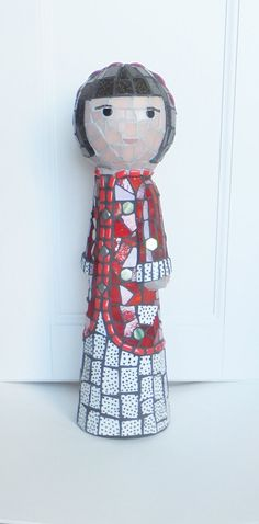 Jayne Mosaic Doll Sculpture original mixed by MollycatMosaics