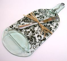 Recycled Wine Bottle Serving Tray (New Damask Pattern with Silver Spreader). $26.00, via Etsy.