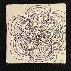Zentangel, white, black, blue, purple, banana star