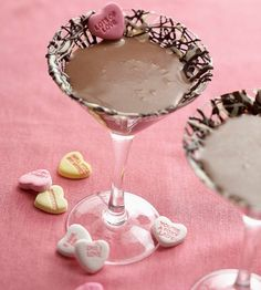 Sweetheart Chocolate Martini ~ 3/4 cup half-and-half or light cream, 8 ounces dark chocolate liqueur (1 cup), 2 ounces vodka (1/4 cup), Ice cubes. In a pitcher, stir together the half-and-half or light cream, chocolate liqueur, and vodka. Place ice cubes in a martini shaker. Add liqueur mixture; shake. Strain mixture into four to six chilled martini glasses.