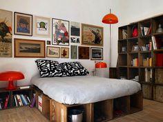 Modern cubby bookshelf crate bedframe