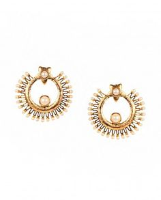 Round Earrings with Pearls by Anjali Jain - #Gold #Earrings #Multicolour #Ethnic #Bling #India #Fashion #Jewelry #Indian #Designer #Jewellery #Multicolor #Desi #Stones #Kundan #Beads #Jhumka #Pearl #Traditional #Golden #Floral #Bangles #Necklaces Indian Ethnic Fashion - Jewelry Designs of India - Jewellery for Festive Dressing - Jewelry Styles for Indian Weddings - Bridal Jewellery
