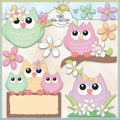 Soft Spring Owls 1 - Digi Web Studio Clip Art Download by Trina Clark for Personal & Commercial Use