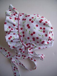 Amazon.com: Cherries and Gingham Ruffled Baby Bonnet: Clothing