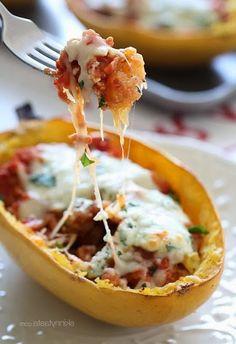 Spaghetti Squash Sausage Lasagna Boats - Anna Things and Thoughts