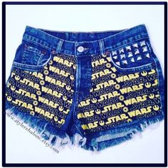 The Force Awakens Jean Shorts Made 4 U Rare Fabric Studded Star Wars... ($42) ❤ liked on Polyvore featuring grey and women's clothing