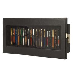 Wall display case 20 fountain pens | Display case ink pen leather frame