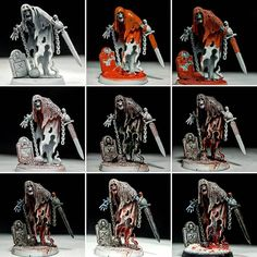 A few people were asking about how I paint my Nighthaunt models, so here's a little tutorial for a quick and easy paintjob: Apply a… Warhammer Figures, Warhammer Paint, Warhammer 40k Art, Warhammer 40k Miniatures, Warhammer Fantasy, Warhammer Models, Minis, Fantasy Model, Fantasy Battle