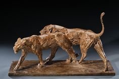Dylan Lewis (1964–Present), Walking Lions Maquette, bronze #10 of 15, 10 x 19 x 28 in, JHAA 2010 Sold: $23,000