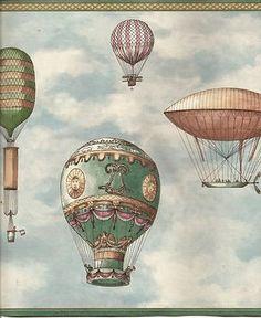Balloon Dirigible Hot Air Flag Wallpaper Border Vintage   eBay---ooooooooh! I feel like I HAVE TO HAVE THIS SOMEWHERE