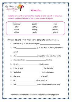 Grade 3 Grammar Topic Adverbs Worksheets - Lets Share Knowledge English Grammar Pdf, English Grammar Exercises, Teaching English Grammar, English Grammar Worksheets, Grammar Lessons, English Vocabulary, Worksheets For Grade 3, Vocabulary Worksheets, Hindi Worksheets