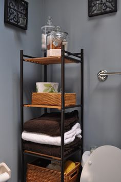 Best Small Bathroom Storage Ideas: Cheap Creative Organization (2019) #bathroom #bathroomdecor #smallbathroomstorageideas Towel Storage, Diy Storage, Storage Shelves, Storage Spaces, Storage Ideas, Storage Drawers, Creative Storage, Shelving Units, Shelf Ideas
