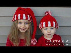 Learn How to Crochet Easy Santa Hat Elf Pixie Beanie for Kids, Adults (C...
