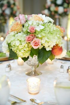 #wedding #reception #centerpiece #white #green #pink #peach #classic #decor #TheBiltmore