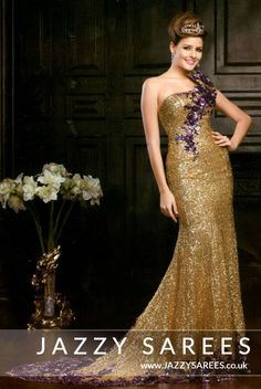 CHELSEA GOLD SEQUINNED A-LINE DRESS