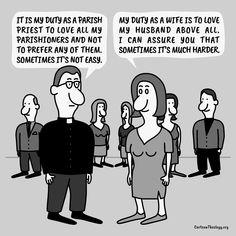 It Is My Duty As A Parish Priest To Love All My Parishioners – Cartoon Theology Christian Cartoons, Christian Humor, Church Humor, Priest, Love, Memes, Amor, Meme