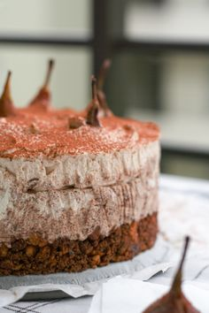 no bake chestnut chocolate cheesecake with poached pears